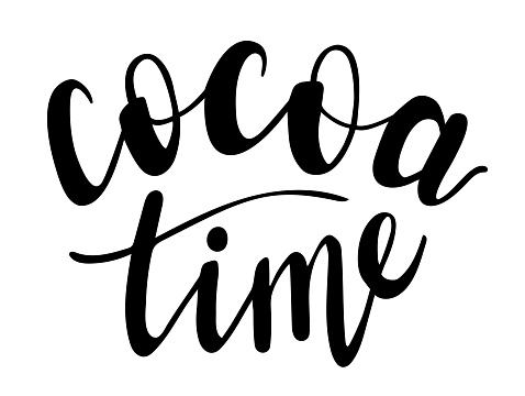 Cocoa time hand lettering. Fall and winter season quotes and phrases for cards, banners, posters, mug, scrapbooking, pillow case, phone cases and clothes design.