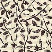 Cocoa tree branches bearing flowers and fruit pods on a chocolate tablet background. Seamless vector pattern. Great for fabric, packaging, paper, stationery, home decor, wallpaper and more.