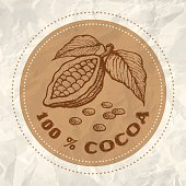 Vintage logo of cocoa on crumpled white paper