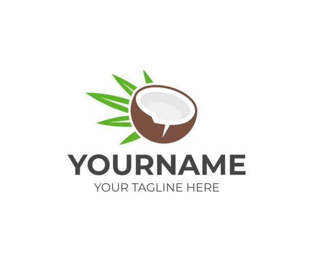 ilustrações de stock, clip art, desenhos animados e ícones de coconut and palm green leaf design. coconut water vector design. coconut drink design - oleo palma