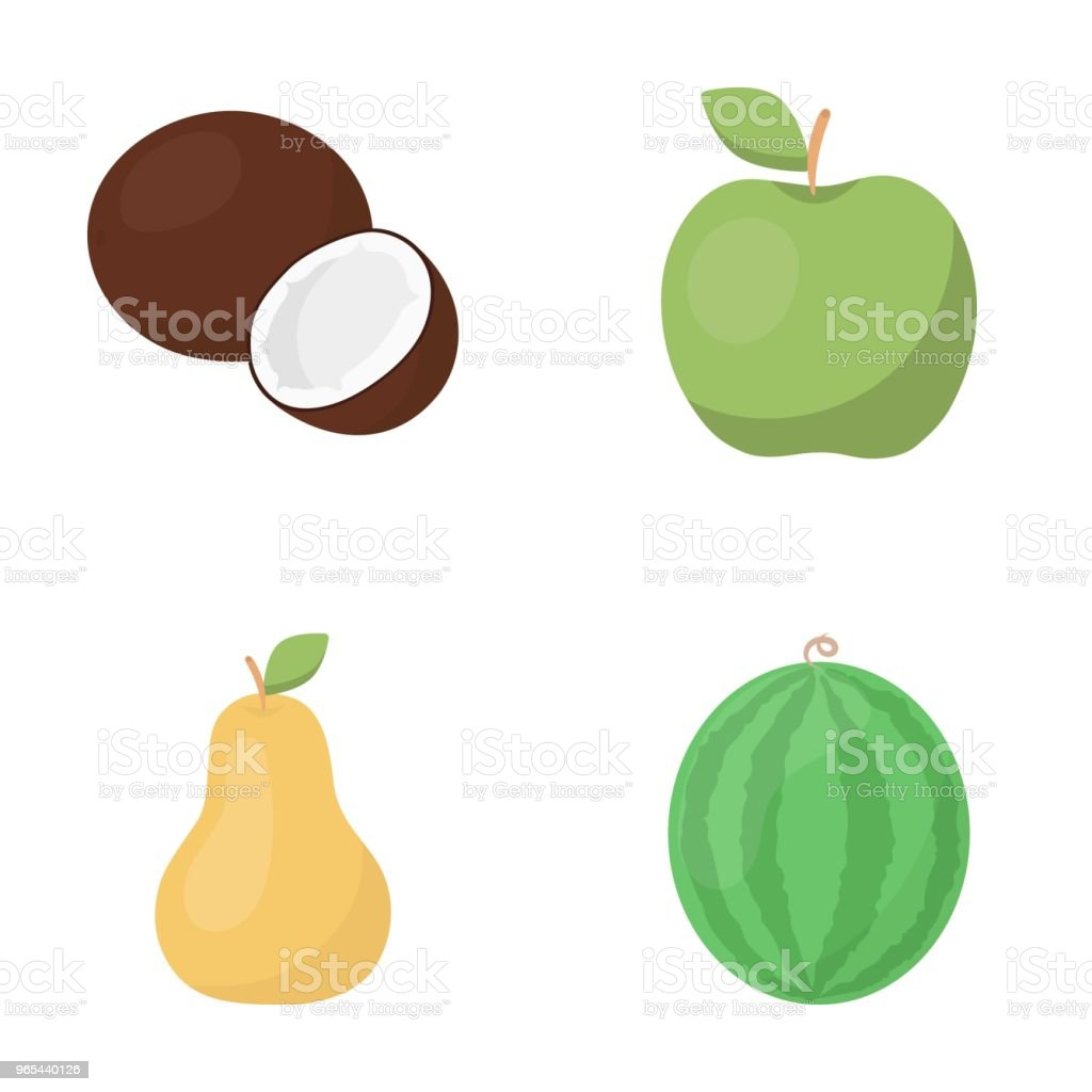 Coconut, apple, pear, watermelon.Fruits set collection icons in cartoon style vector symbol stock illustration web. royalty-free coconut apple pear watermelonfruits set collection icons in cartoon style vector symbol stock illustration web stock vector art & more images of food