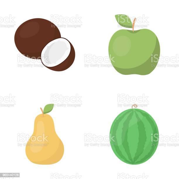 Vetores de Coco Maçã Pera Melancia Frutas Set Coleção Ícones Em Desenho Animado Estilo Vector Símbolo Conservado Em Estoque Ilustração Web e mais imagens de Comida