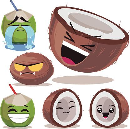 Coconut Cartoon Set B