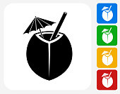 Coconut Cocktail Icon. This 100% royalty free vector illustration features the main icon pictured in black inside a white square. The alternative color options in blue, green, yellow and red are on the right of the icon and are arranged in a vertical column.