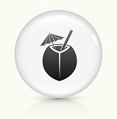 Coconut Cocktail Icon on simple white round button. This 100% royalty free vector button is circular in shape and the icon is the primary subject of the composition. There is a slight reflection visible at the bottom.