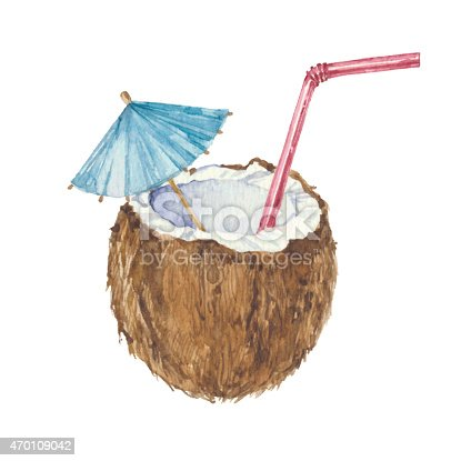 istock Coconut cocktail  isolated on a white background.Vector, watercolor   illustration. 470109042