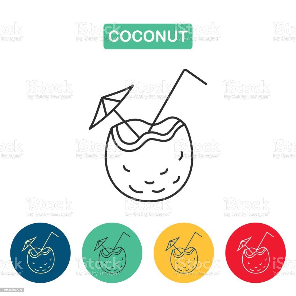 Icono de línea Cóctel de coco - ilustración de arte vectorial
