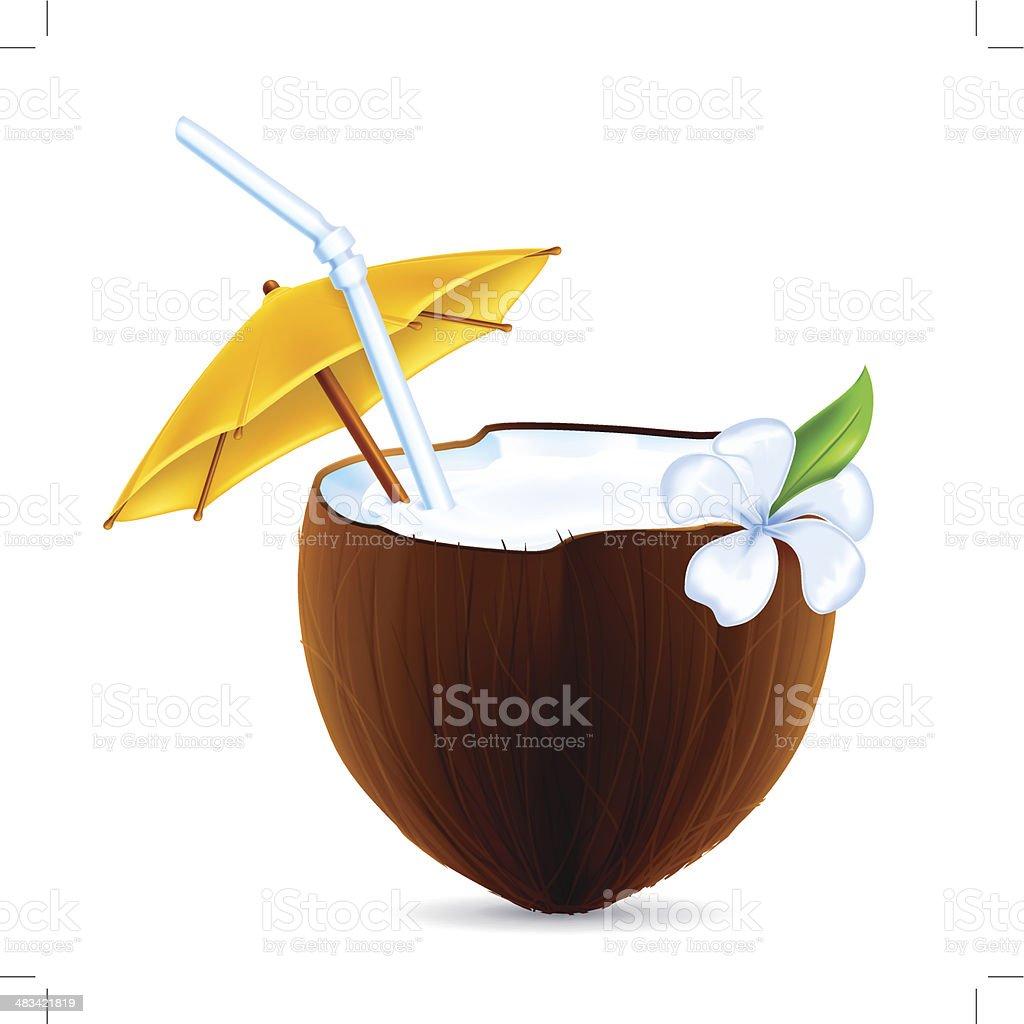 Coconut Cocktail vector art illustration