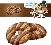 Coconut cookies with chocolate stripes illustration. Cartoon vector icon isolated on white background. Series of food and drink and ingredients for cooking.