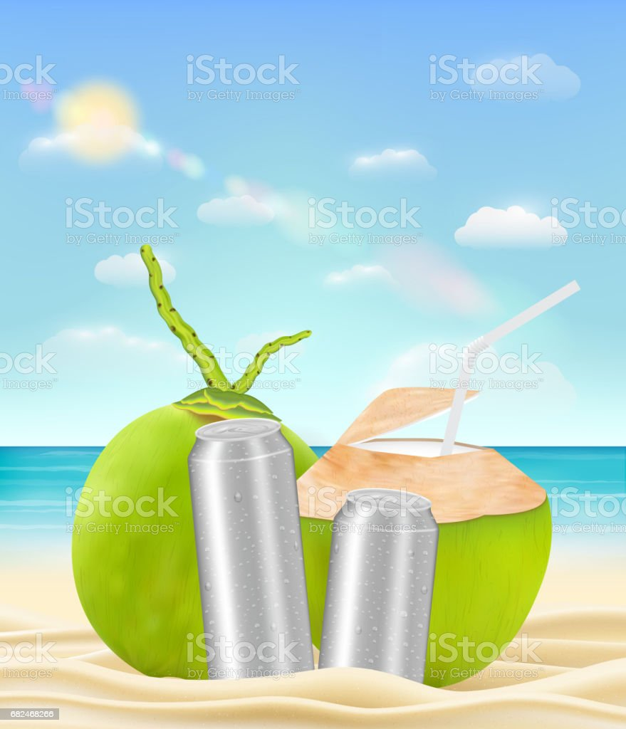 coconut drink water can on a sea sand beach royalty-free coconut drink water can on a sea sand beach stock vector art & more images of aluminum