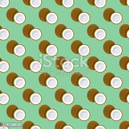 istock Coconut Fruit Pattern 1181268137