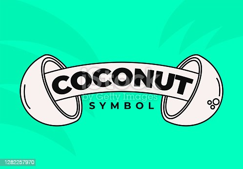 istock Coconut Juice Bar Emblem Icon for Restaurant or Food Packaging for Healthy Coconut Milk or Water Symbol 1282257970