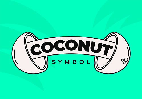 Coconut Juice Bar Emblem Icon for Restaurant or Food Packaging for Healthy Coconut Milk or Water Symbol