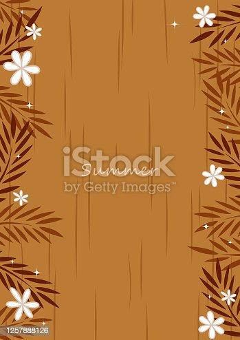 Coconut leaves with flower flat design frame vector background for decoration on vintage summer holiday.