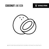 Coconut Line Icon - Editable Stroke