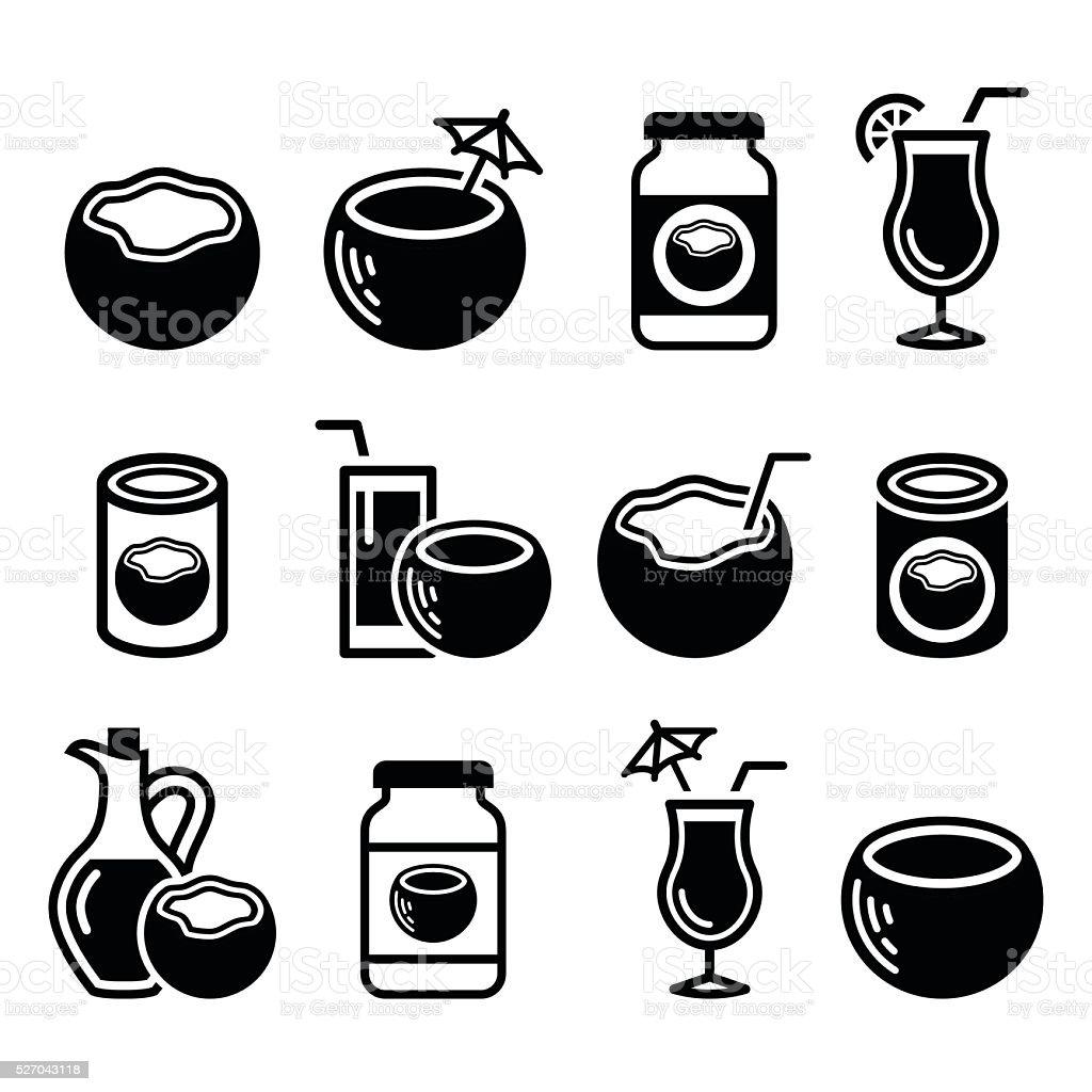 Leche de coco, aceite, CÓCTELES-vector conjunto de iconos - ilustración de arte vectorial