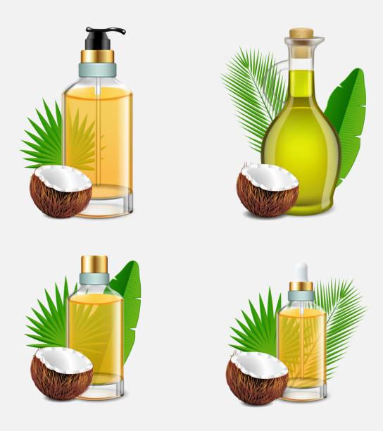 ilustrações de stock, clip art, desenhos animados e ícones de coconut oil bottle set vector realistic illustration - oleo palma