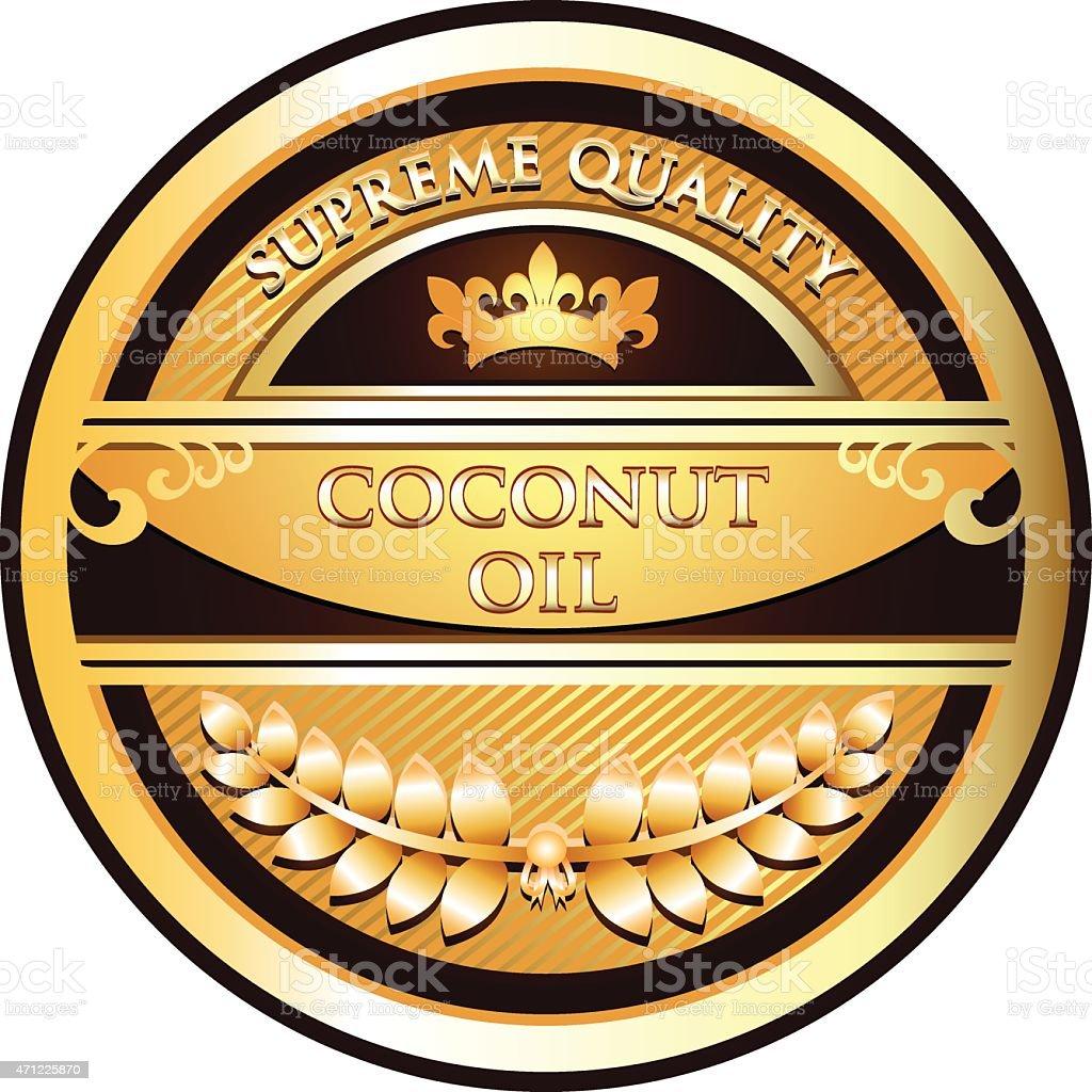 Etiquetas de aceite de coco oro - ilustración de arte vectorial