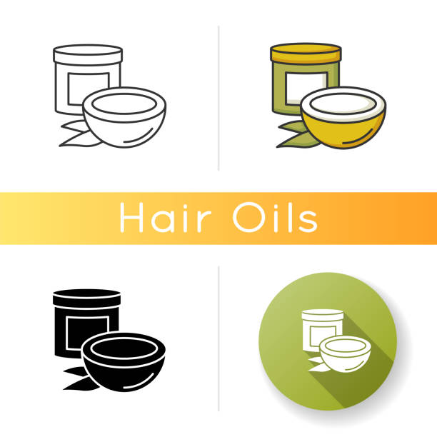 ilustrações de stock, clip art, desenhos animados e ícones de coconut oil icon. organic nourishing haircare. hair mask in jar container. natural cosmetic product for hair treatment. linear black and rgb color styles. isolated vector illustrations. - palm oil bottles