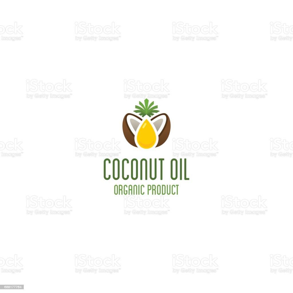 Logo de aceite de coco. Vector emblema de producto orgánico. - ilustración de arte vectorial