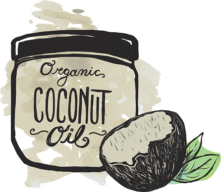 Coconut Oil label and jar on textured background