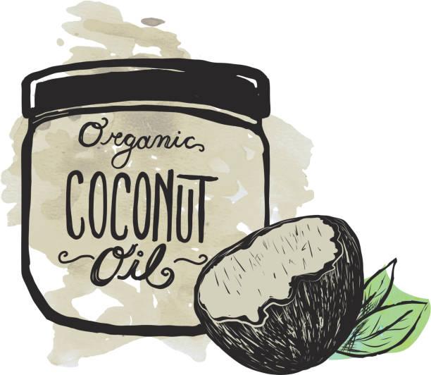 Coconut Oil label and jar on textured background - ilustración de arte vectorial