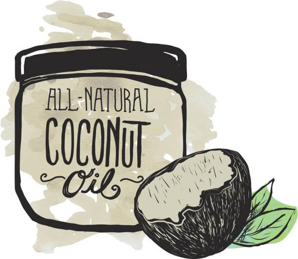Coconut Oil label and jar on watercolor background - ilustración de arte vectorial