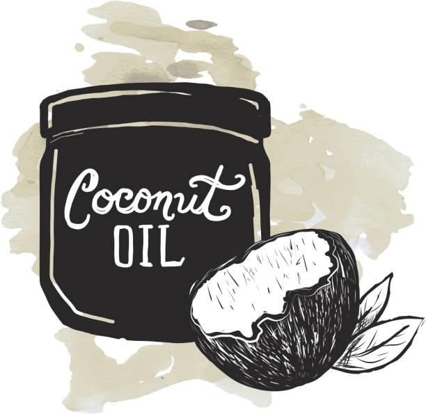 Coconut Oil label and jar on watercolor texture background - ilustración de arte vectorial