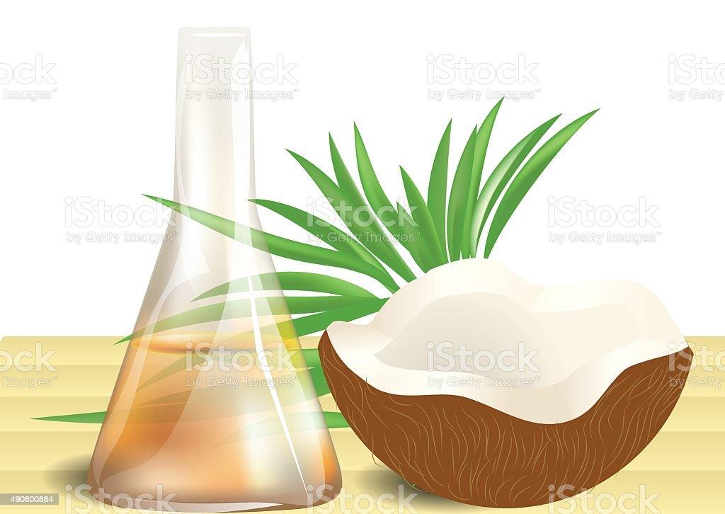 Aceite de coco sobre la mesa - ilustración de arte vectorial