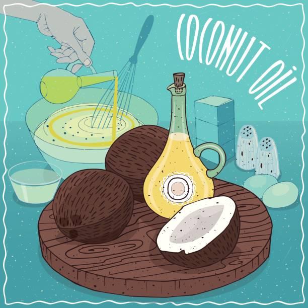 Aceite de coco para cocinar - ilustración de arte vectorial