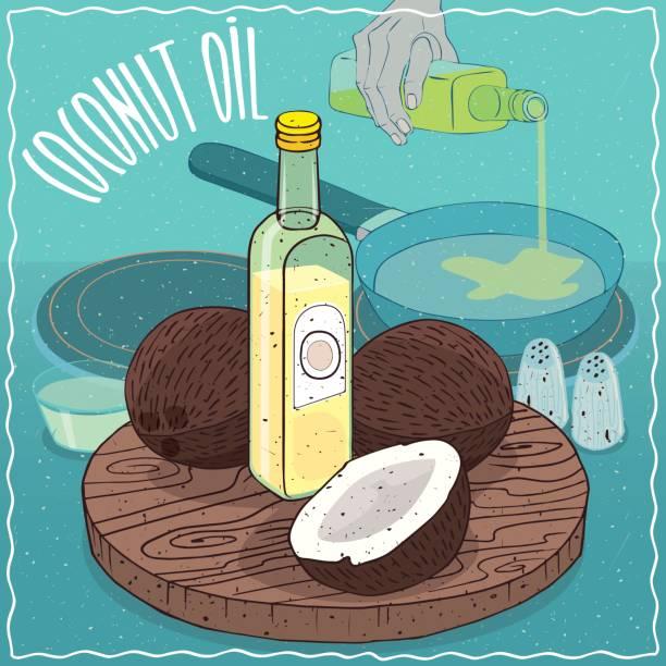 Aceite de coco usado para freír alimentos - ilustración de arte vectorial