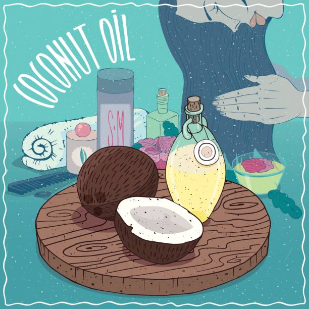 Aceite de coco usado para cuidado del cabello - ilustración de arte vectorial