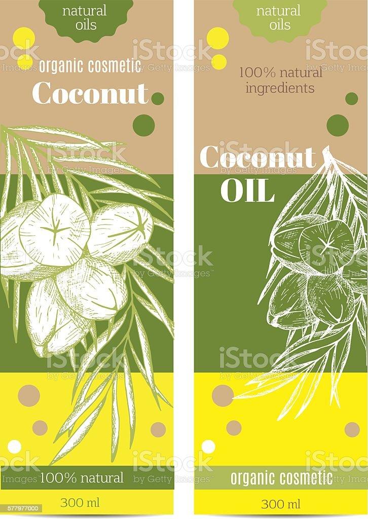 Coconut packing vector art illustration
