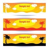 Coconut palm banners set