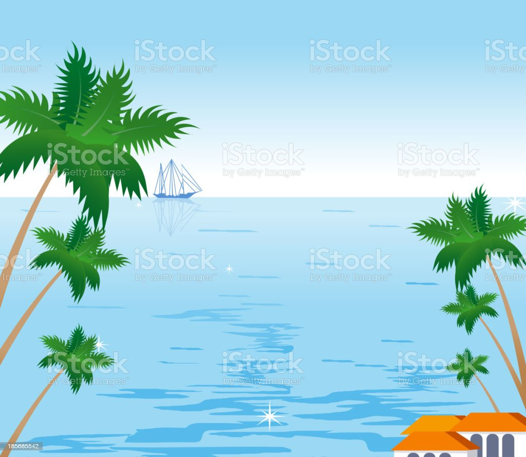 Coconut palm tree and sailboat on tropical beach royalty-free stock vector art