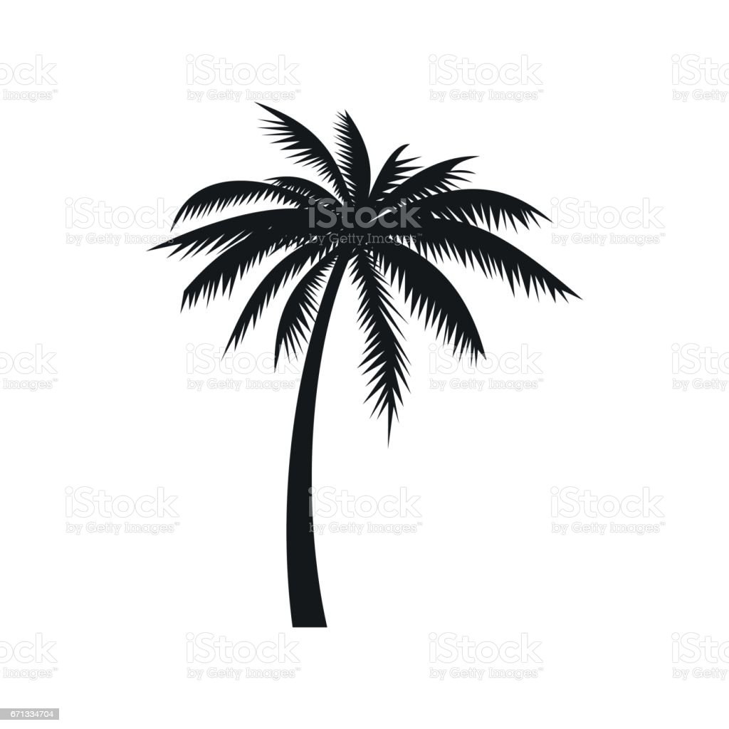 Coconut palm tree icon, simple style vector art illustration
