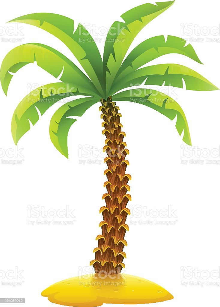 coconut palm tree on sand island stock vector art more images of rh istockphoto com Palm Tree Pattern Printable Palm Tree Outline Stencil