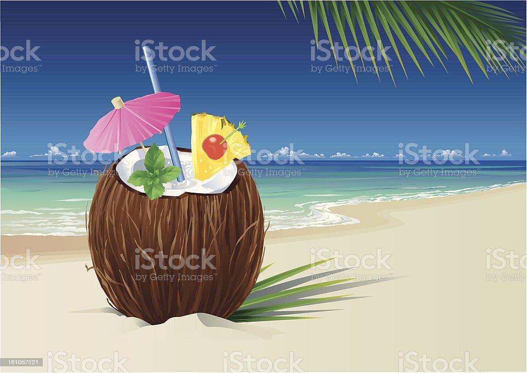 Coconut Pina Colada on the Beach vector art illustration