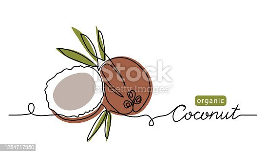 istock Coconut simple vector line illustration. Single line art drawing with lettering organic coconut 1284717350