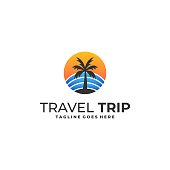 Coconut Travel Illustration Vector Template. Suitable for Creative Industry, Multimedia, entertainment, Educations, Shop, and any related business.