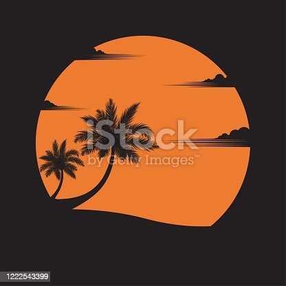 istock coconut trees on the beach of sunset background 1222543399