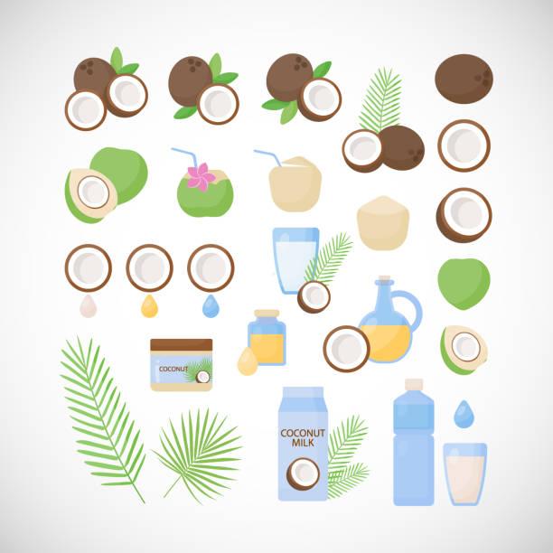 Conjunto de iconos plano de vector de coco - ilustración de arte vectorial