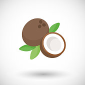 Coconut vector flat icon, flat design of tropical exotic fruit with round shadow isolated on the white background, vector illustration