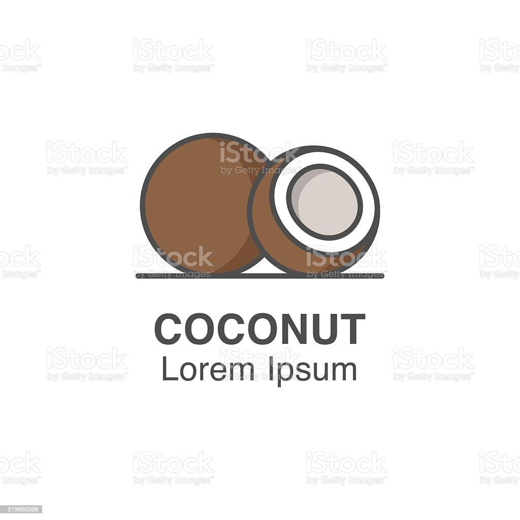 Coconut vector icon. vector art illustration