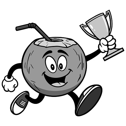 Coconut Water Running with Trophy Illustration