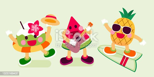 istock Coconut With Swim Ring, Watermelon Play Ukulele and Pineapple On Surfboard, Fruits Character, Vector, Illustration 1320169437