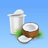 Coconut yogurt, open yogurt package ads, 3d realistic vector illustration.