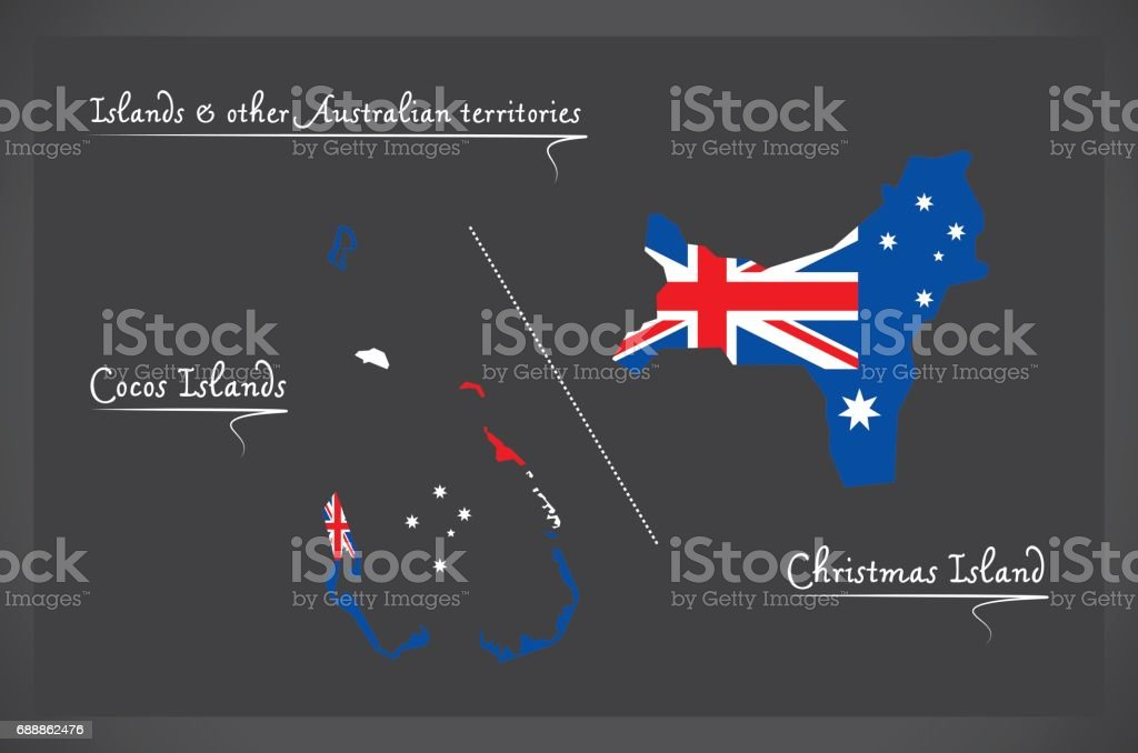 Cocos Islands And Christmas Island Map With Australian National Flag