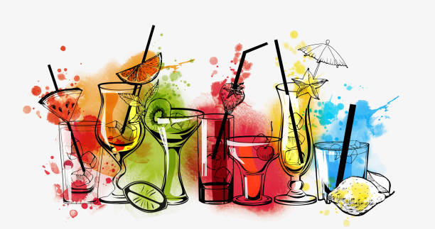 coctail backround - cocktails stock illustrations, clip art, cartoons, & icons