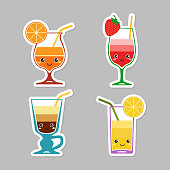 Coctail. Set of stickers of kids cocktails with sliced fruit. Vector illustration